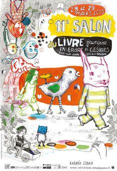 Affiche* officielle de la 11ème édition du salon du livre jeunesse qui se tiendra à Sucé-sur-Erdre (44) les 28 et 29 mars 2015.   * Réalisée par Carole Chaix en collaboration avec Salomé Risier.