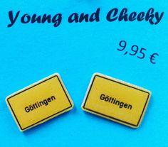 Ohrstecker Ortseingangsschild #youngandcheeky #earring #ohrstecker