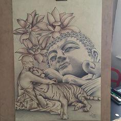 #mulpix #derwent #graphitint #Buddha #tiger #pencil #drawing #lotus #flower #artwork #artist #art #Dextertattoo #madeinmanchester #manchester #sketch #tattoodesign