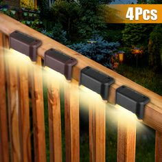 Solar Step Lights, Solar Powered Outdoor Lights, Outdoor Deck Lighting, Fence Lighting, Solar Lights For Deck, Outdoor Stairs, Landscape Lighting, Stair Steps, Backyard Patio