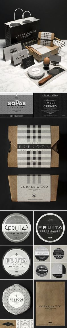 Spanish graphic designer and art director Oriol Gil created the brand and package design for Cornelia and Co, a restaurant, bakery, winery, and coffe shop located in Barcelona.