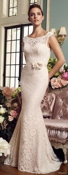 mikaella fall 2017 bridal sleeveless illusion bateau sweetheart neckline full embellishment elegant fit and flare wedding dress v back chapel train (2157) mv