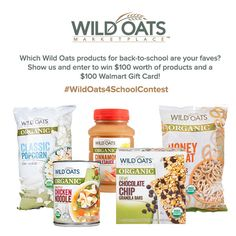 $100 Walmart Gift Card & $100 in Organic Wild Oats products to be won! 3 winners!!