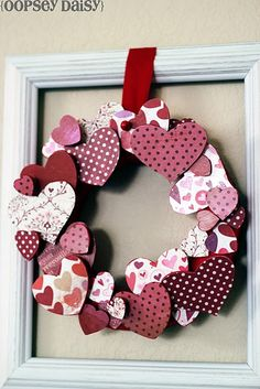 3 Dimensional Wood Heart Wreath @ Oopsey Daisy.  So fun and love the paper.