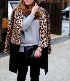leopard colorblock coat