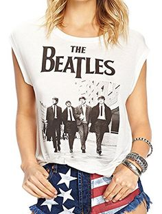 Darceil Womens White Rock Band The Beatle Print Tank Top T Shirt XL White    fe7287eac