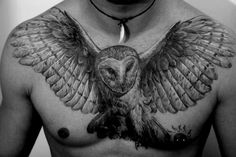 Another owl tattoo chest piece. I think A more realistic owl will go with what I already have. Natur Tattoos, Kunst Tattoos, 3d Tattoos, Animal Tattoos, Body Art Tattoos, Tattoos For Guys, Tattoo Ink, Sexy Tattoos, Fish Tattoos