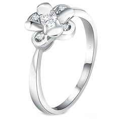 Bishilin S925 Silver Lab Created Diamond Round Cut Cubic Zirconia Flower Ring For Womens Size 8 - Brought to you by Avarsha.com