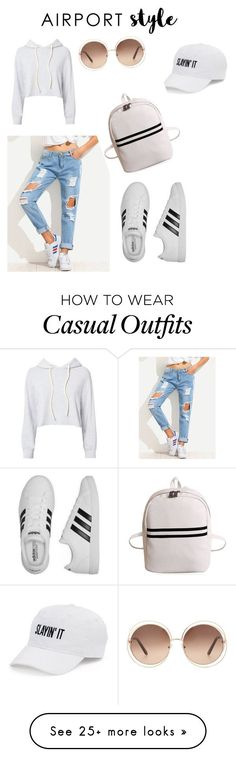 Casual airport chic style by anchaljassal-1 on Polyvore featuring Monrow, adidas, Chloé and SO ,Adidas Shoes Online,#adidas #shoes