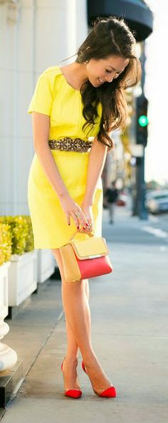 Zeliha's Blog: Neon Short Sleeved Dress With Beaded Belt