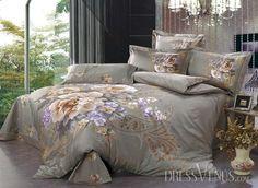 US$99.99 Elegant Dun Cotton Lush Peony Active Printed 4 Piece Comforter Bedding Sets. #3D #Active #4 #Piece