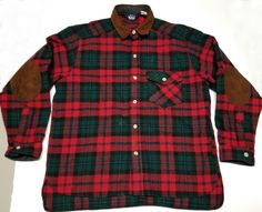 28139d68d37be Woolrich Wool Nylon Shirt Men Large Buffalo Red Plaid Lumberjack elbow  patches  Woolrich  ButtonFront