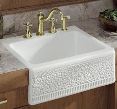 Embossed Farm Sink; More Of A Scroll Pattern Would Be Nice; Add Bronze  Faucets