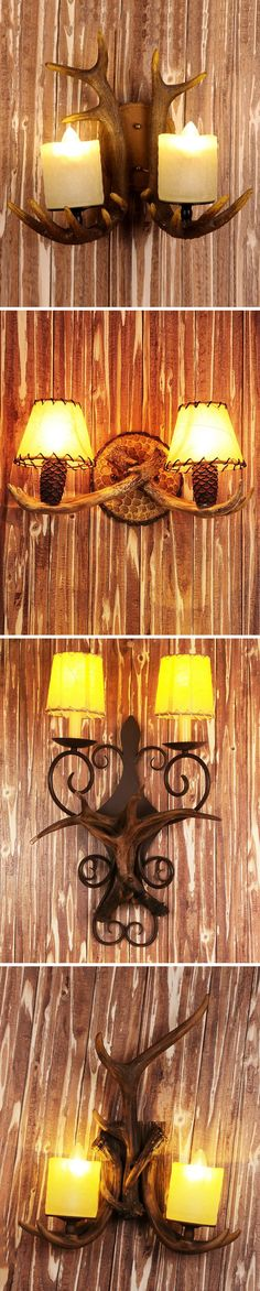 Refresh the look of your home with some wildwood flavor by using this 2 Lights Rustic Wall Sconce with Resin Base and Linen Shades.