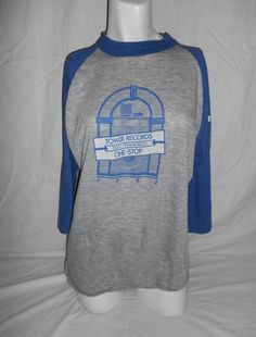 """tag says XL Made in USA Actual Measurements: 41 """" chest/bust, length thin and worn cotton/poly Vintage Clothing Online, Tower Records, San Francisco, Vintage Outfits, Baseball, Tees, Sweatshirts, Sweaters, T Shirts"""
