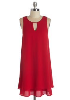 Gracefully Yours Dress - Red, Solid, Cutout, Girls Night Out, Shift, Sleeveless, Woven, Mid-length