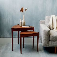 """$159.99 - Retro Tripod Nesting Tables #westelm - Large table: 22.5""""w x 21.4""""d x 22""""h - Small table: 18.5""""w x 17.4""""d x 19""""h"""