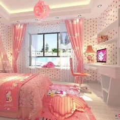 Hello Kitty Pink Bedroom girly pink bedroom home decorate hello kitty Hello Kitty Bedroom Set, Hello Kitty Rooms, Hello Kitty Room Decor, Kawaii Bedroom, Cat Bedroom, Bedroom Themes, Bedroom Sets, Bedroom Decor, Decor Room