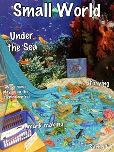 "The Rainbow Fish - Inspiration for classroom play Under the Sea Small World from Rachel ("",) Rainbow Fish Activities, Eyfs Activities, Nursery Activities, Rainbow Fish Eyfs, The Rainbow Fish, Sharing A Shell, Reception Class, Role Play Areas, Eyfs Classroom"