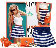 """bright with stripes"" by bodangela ❤ liked on Polyvore"