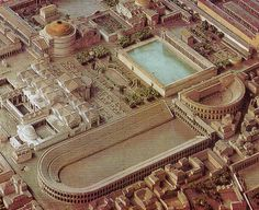 lestadio de Domiciano en un detalle de la reconstrucción de la Roma Antigua.