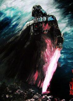 Galaxy Fantasy: Google+ El artista azullthras a realizado un Darth Vader a modo de representación pictorica,  envuelto en oscuridad, pero con un halo de esperanza, del que según las leyendas restablecerá el equilibrio a la fuerza.