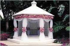 Pink flowers for White Gazebo - Magical Summer Elegance.