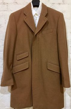 Rocha John Rocha Modern Overcoat Sz Medium Camel Herringbone Italian Wool Blend #RochaByJohnRocha #Overcoat