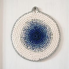 """Blue mushroom"" potholder by At Swim-Two-Birds. DIY inspiration"