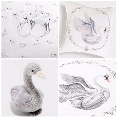 Tiny Tiddlers blog: Zara home Kids: Swan nursery theme: swan decor: swan illustration
