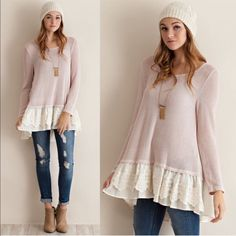 CAMMIE two tone sweater top - MAUVE A two tone cut&sew sweater top featuring chiffon ruffle with lace. Slight high-low. Semi-sheer. Knit. Lightweight. 47%POLYESTER 50%RAYON 3%SPANDEX. NO TRADE, PRICE FIRM Tops
