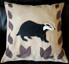 "Handmade applique decorative cushion cover ""Badger"", animals"