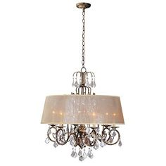 "Belle Marie Collection 6-Light 28"" Antique Gold Crystal Chandelier with Champagne Drum Shade 1946-90"