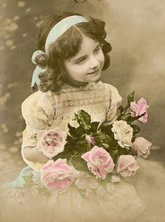 Sweet girl with roses