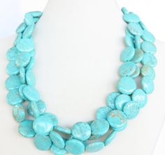 Chunky Turquoise Necklace - 3 Strand ChunkyTurquoise Coin Statement Necklace