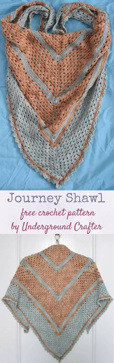 Free crochet pattern: Journey Shawl in Sweet Georgia Tough Love Sock yarn by Underground Crafter | Take a peaceful journey with this beginner-friendly triangular shawl, which is also lightweight enough to wear as a triangular scarf.