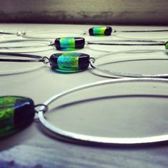'Zadia' necklace. Murano-style glass foil beads with large silver oval links.
