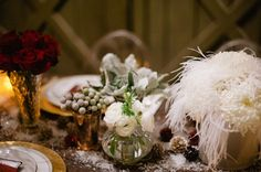 vintage wedding tablescape glamourous winter wedding