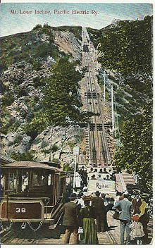 PASADENA:  Mt. Lowe Incline, 1908.  The Mt. Lowe Railway was the third in a series of scenic mountain railroads in America created as a tourist attraction on Echo Mountain and Mt. Lowe, north of Los Angeles. The railway, originally incorporated by Professor Thaddeus S. C. Lowe as the Pasadena & Mt. Wilson Railroad Co. existed from 1893 until its official abandonment in 1938 and had the distinction of being the only scenic mountain, electric traction (overhead electric trolley) railroad. Places In California, Pasadena California, California History, Vintage California, California Dreamin', San Luis Obispo County, Bunker Hill, The Old Days, Historical Photos