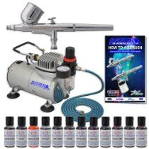 MASTER Cake Decorating Airbrush Kit with 12 Food Color Set With Airbrush Depot 1 Year Warranty Tankless Compressor and 6 Foot Air Hose Set $116.95