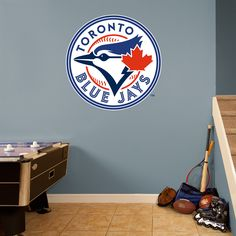 Toronto Blue Jays Logo REAL.BIG. Fathead Wall Graphic | Toronto Blue Jays Wall Decal | Sports Decor | Baseball Bedroom/Man Cave/Nursery
