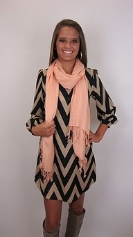 Chevron dress, scarf and boots