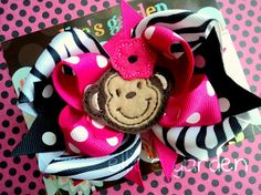 Embroidered Monkey  Layered Boutique Bow Hot Pink by elliesgarden, $10.99