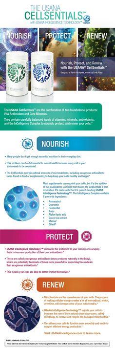Usana CellSentials, nutre, protege y renueva tus células.