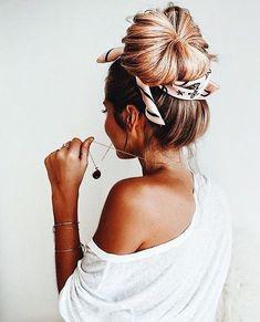 cute top bun with scarf