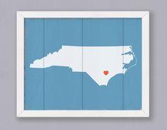 "North Carolina Wood Sign - Rustic Home decor  16""x20"" Handmade Custom Sign"