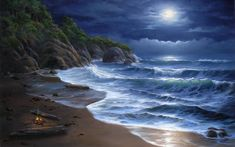 nature beaches landscapes waves ocean sea seascape cliff trees tropical sky clouds moon moonlight art artistic paintings wallpaper backgroun...