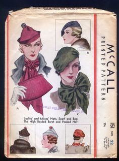 McCall 151 | 1933 Ladies' Hats, Scarf and Hand Bag