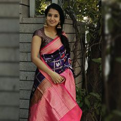 Banaras silk with silver zari weaving Saree Blouse Patterns, Saree Blouse Designs, Party Wear Sarees Online, Stylish Blouse Design, Tussar Silk Saree, Saree Models, Saree Styles, Indian Beauty Saree, Clothes For Women