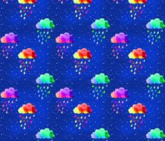 it's raining rainbows fabric by designsbybee on Spoonflower - custom fabric
